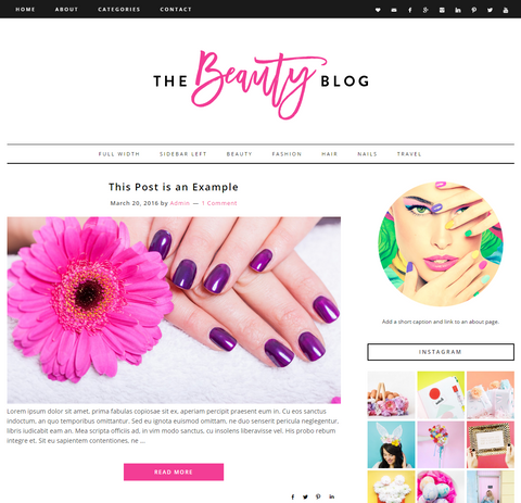Responsive Wordpress Theme Beauty Blog