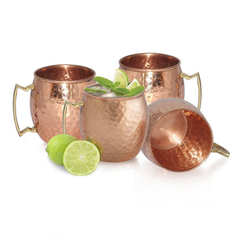 Set of 4 Handmade Hammered Copper Moscow Mule Mug - 100% Pure Copper with Brass Handle - Hammered Moscow Mule Mug Cup
