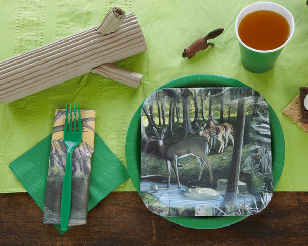 Camping birthday party tablesetting, camping paper plates