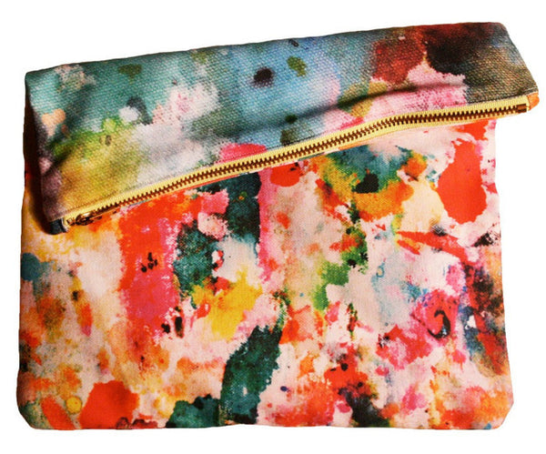 Art Pop Big Zipper Clutch