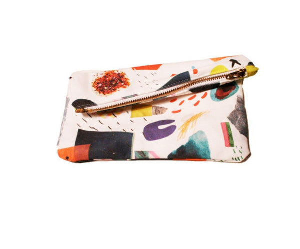 Abstract Art Collage Mini Zipper Clutch