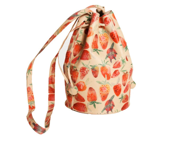 Leather Strawberry Print Bucket Bag