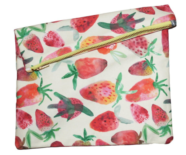Strawberry Big Zipper Clutch