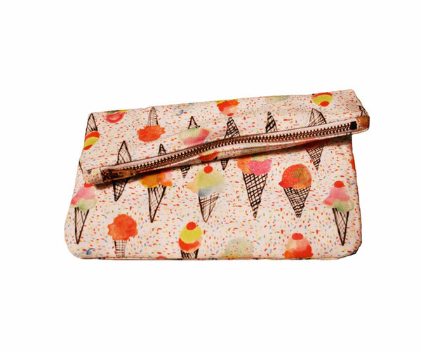 Ice Cream Sprinkle Zipper Clutch