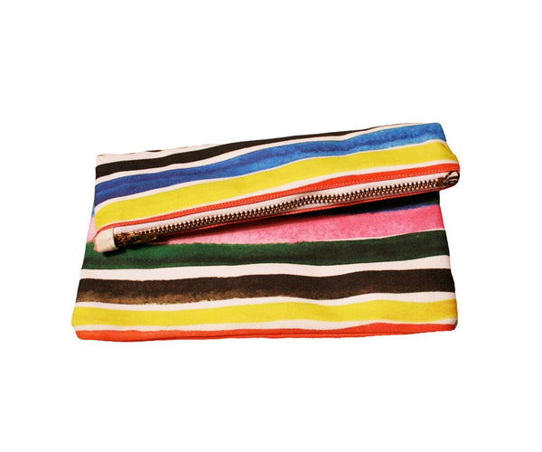 Ice Pop Striped Zipper Clutch