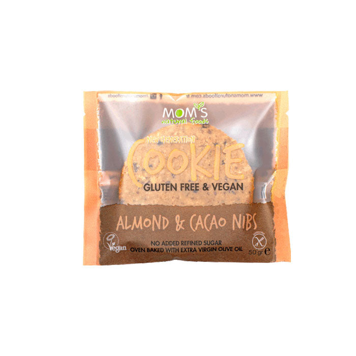 Mom's Glutensiz Cookie Almond & Cacao Nibs 50 g