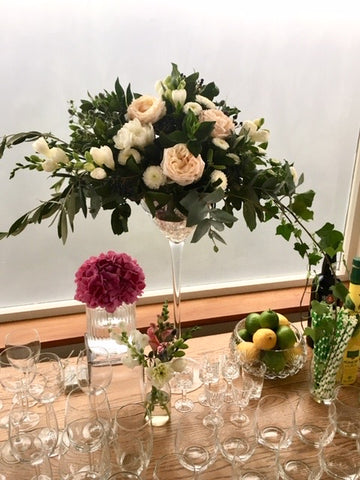 party function flowers vase hire