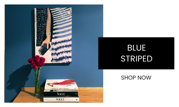 Fashion Wall Art - Blue Striped - Recoveted