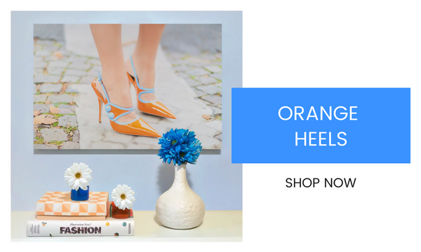 Fashion Wall Art - Orange Heels - Recoveted