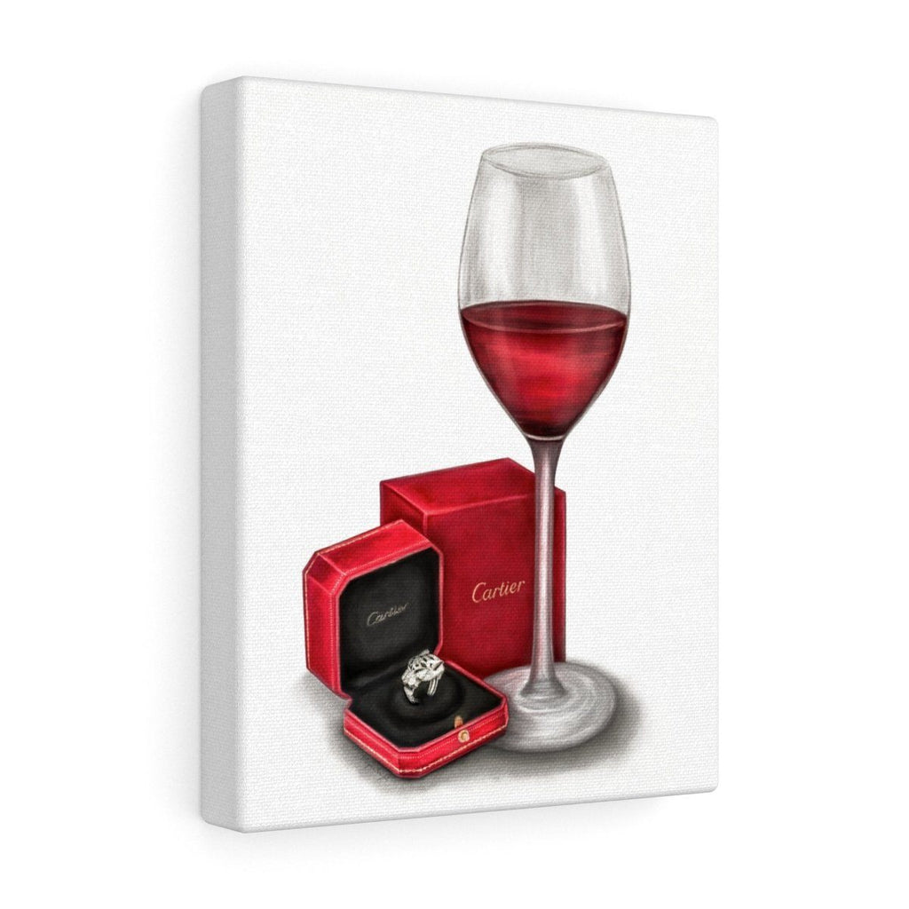 Cartier ring with red wine glass canvas art