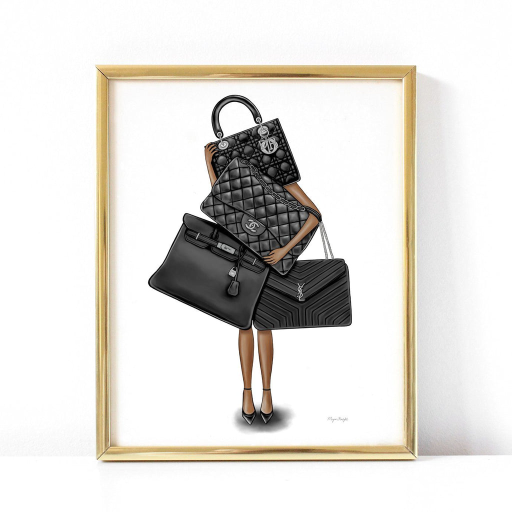 Fashion illustration Fine Art Print - Bag Lover - dark skin tone