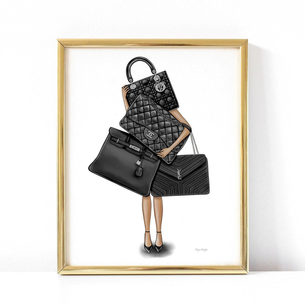 Fashion illustration Fine Art Print - Bag Lover -  medium skin tone