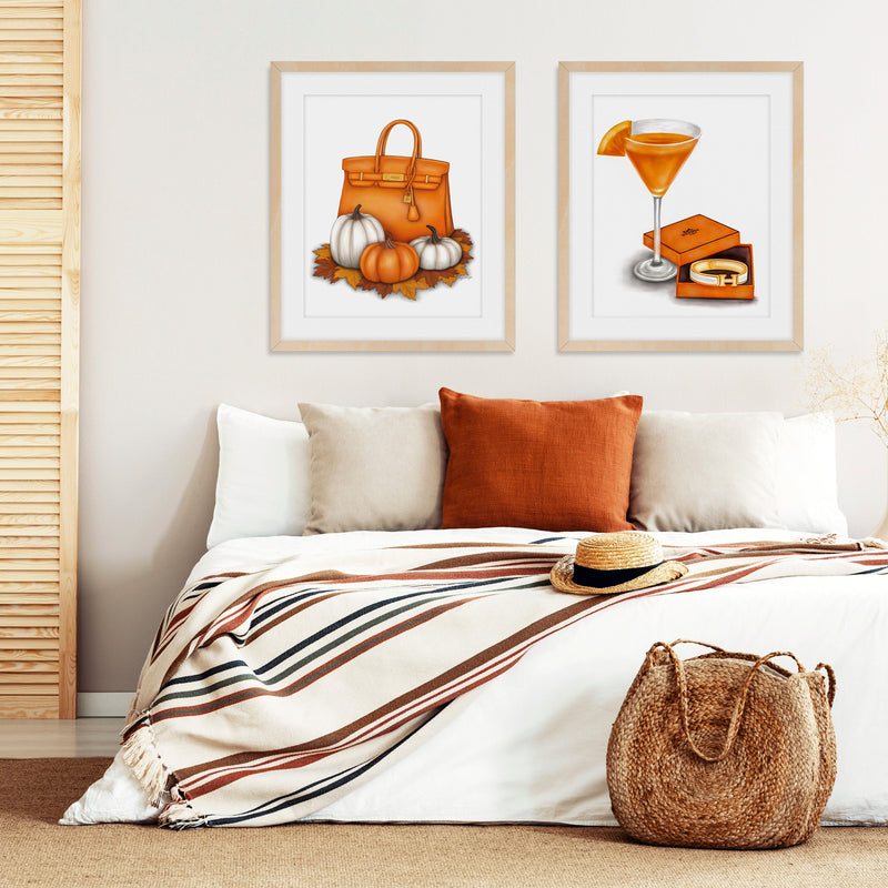 Fall Fashion Art Prints in stylish bedroom