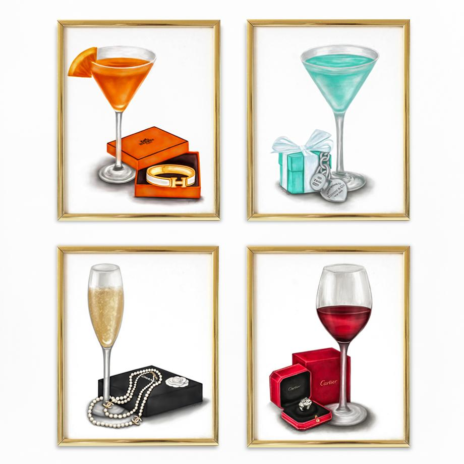 Designer Drinks | Fine Art Prints (Set of 4)