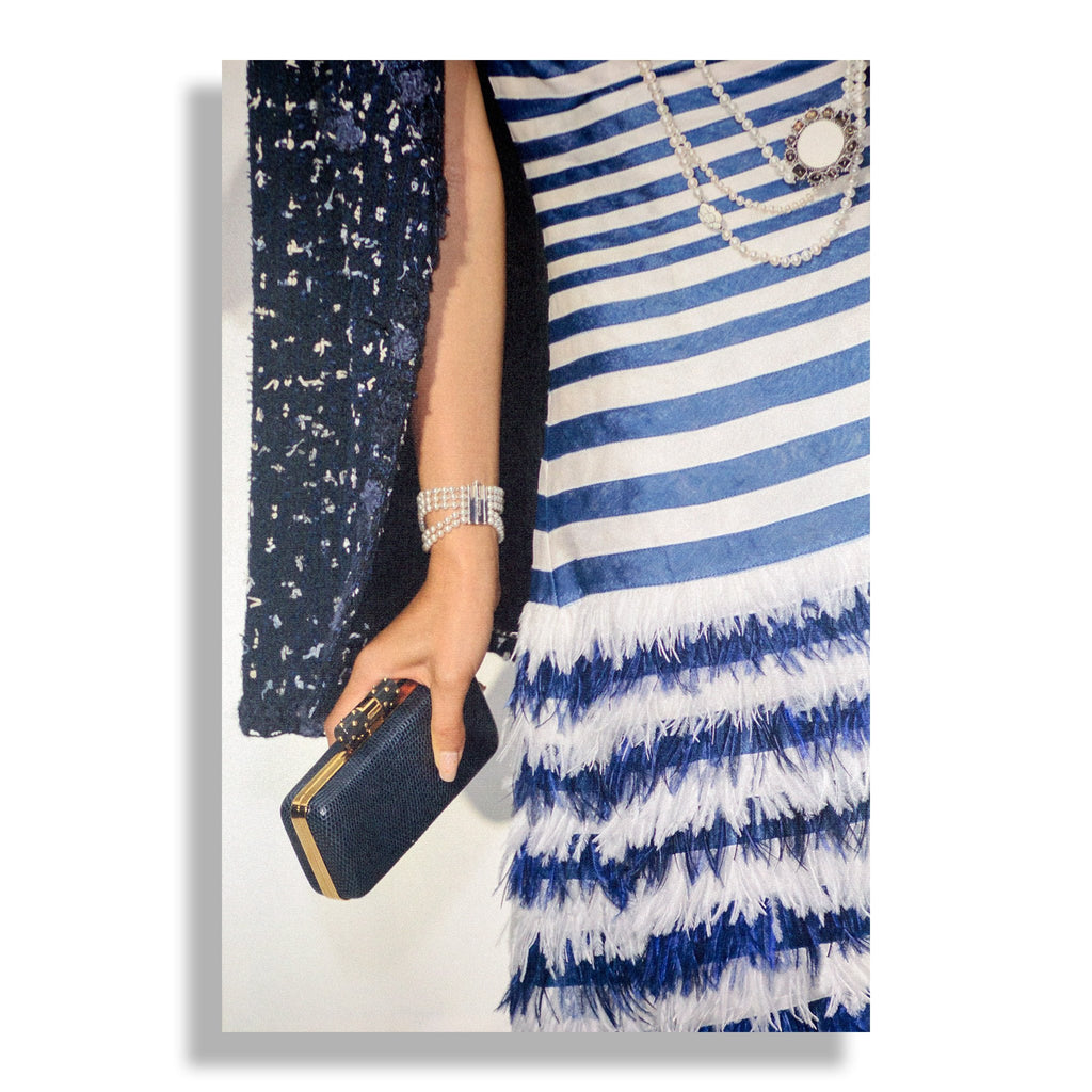 Blue Striped | Fashion Art Print - RECOVETED - Fashion Art Prints
