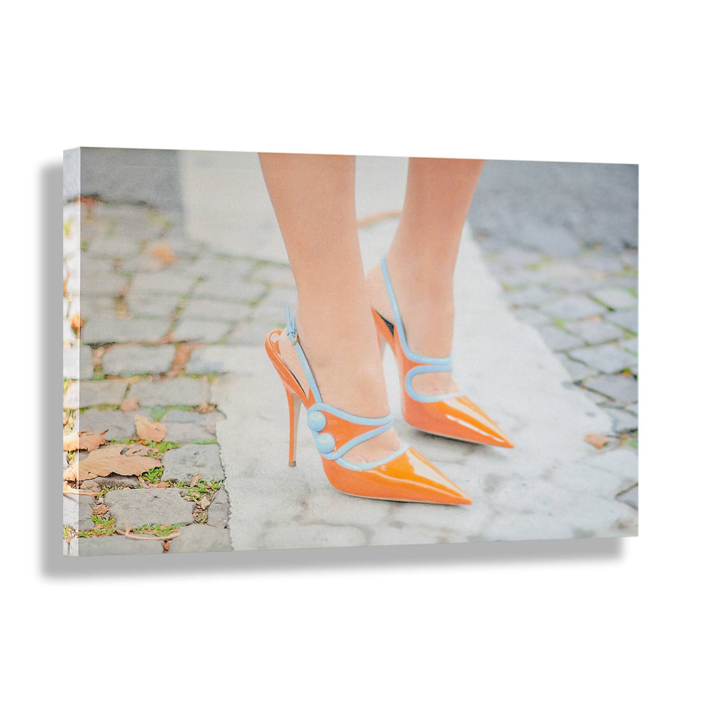 RECOVETED - Orange Heels - Fashion Wall Art - Shoe Art Print