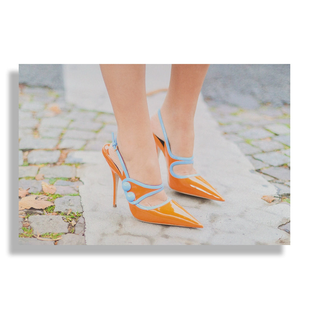 RECOVETED - Orange Heels - Fashion Art - Shoe Art Print