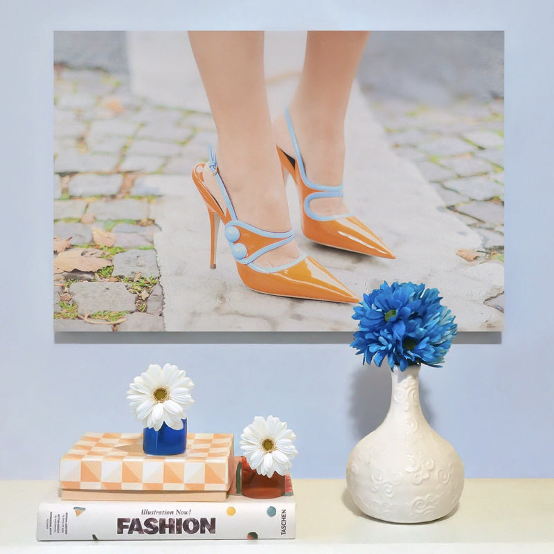 RECOVETED - Orange Heels - Fashion Art - Shoe  Wall Art Print