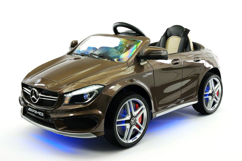 mercedes cla45 12v kids ride on car mp3 usb player battery powered wheels rc parental remote brown