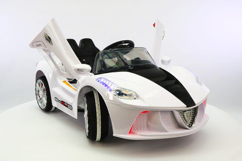 Ferrari Spider Style Kids Ride-On Car MP3 12V Battery Power Wheels R/C Parental Remote | White