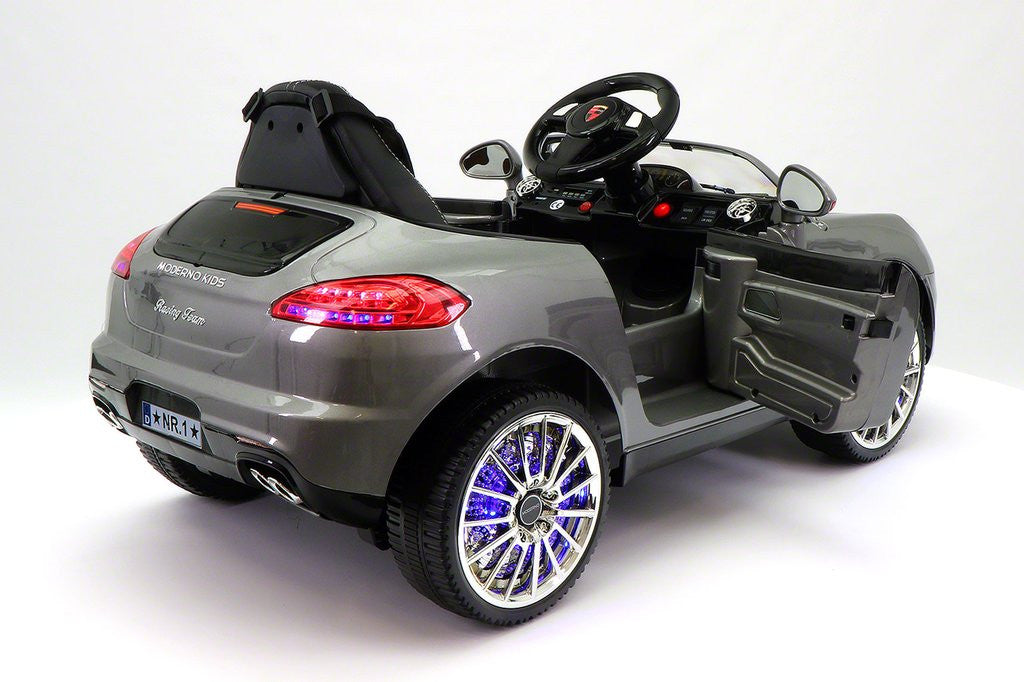sport style 12v kids ride on car mp3battery powered wheels rc remote grey
