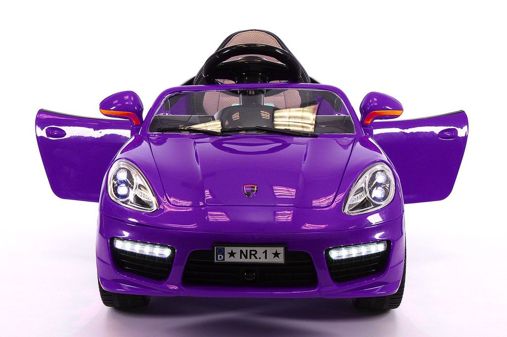 sport style 12v kids ride on car mp3 battery powered wheels rc remote purple
