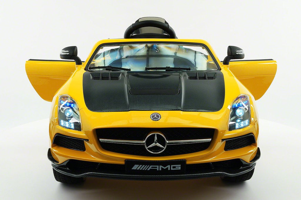 Mercedes SLS AMG Battery Powered Ride On Car with MP3 MP4 Remote Control | Carbon Yellow