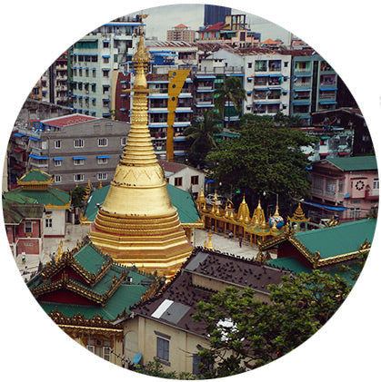 makers travelers myanmar yangon pagoda gold leaf temple from hotel