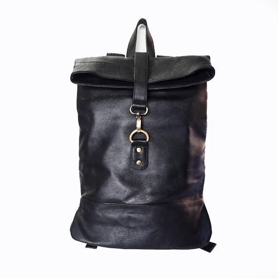 153b6d553 Small Black Leather Backpack - Makers Travelers