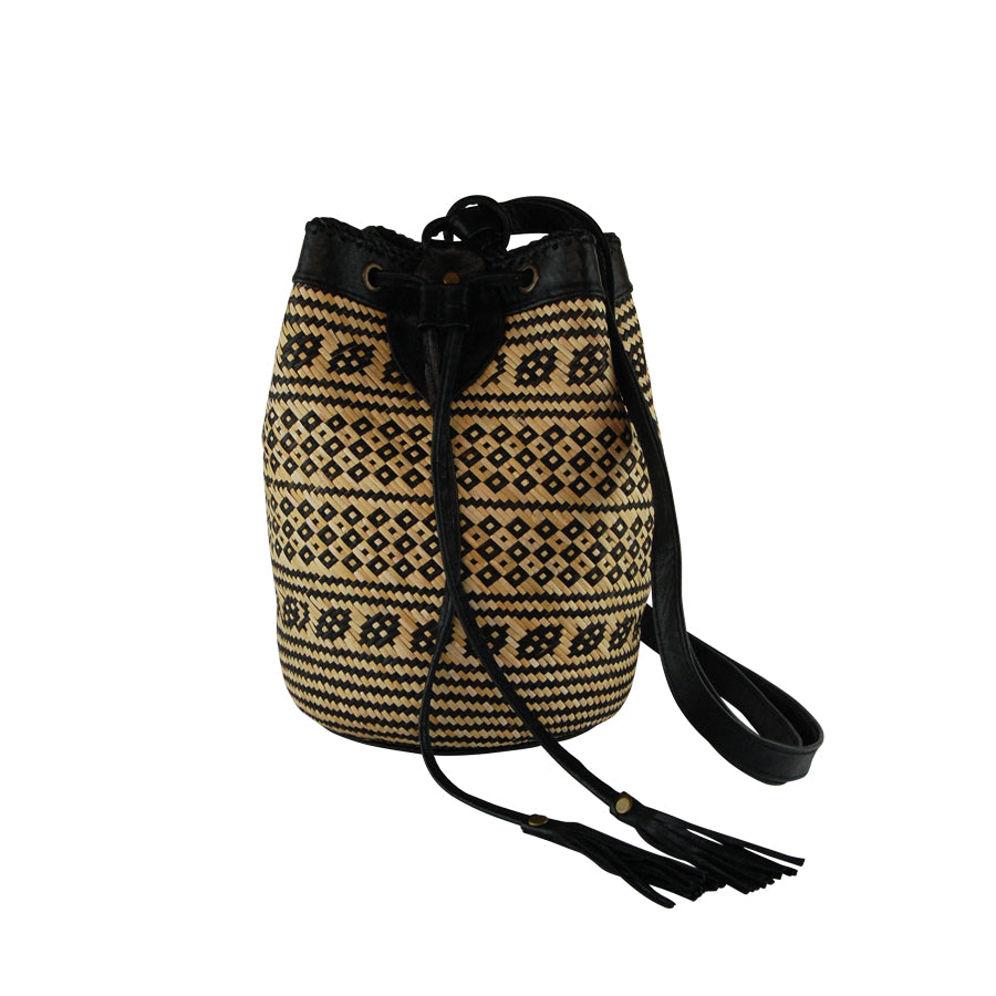 f868770e01 Rattan and Leather Bucket Bag - Makers Travelers