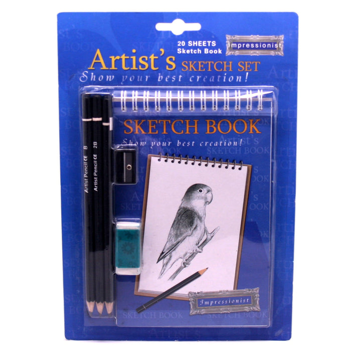 Small Artist Sketch Book With Pencils, Eraser And Sharpener