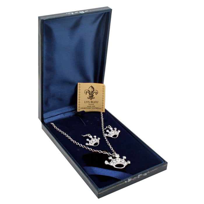 Lys Bleu Crown Pendant & Earrings Set with Swarovski Elements