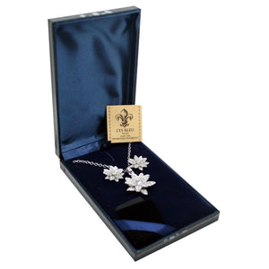 Lys Bleu Crystal Fleur Pendant & Earrings Set with Swarovski Elements - Daves Deals