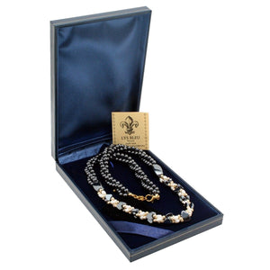 Lys Bleu Hematite & Pearl Necklace with Swarovski Elements - Daves Deals