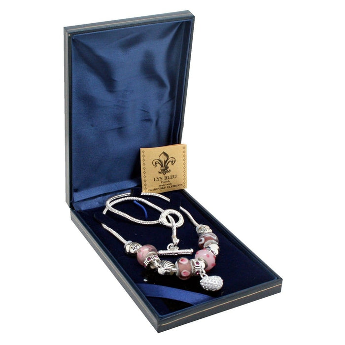Lys Bleu Chambord Charm Necklace with Swarovski Elements