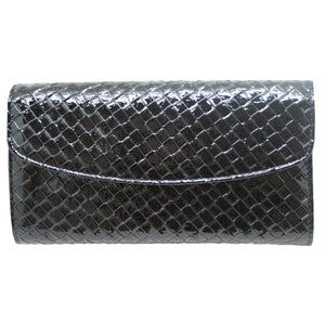 Black Crocodile Style Leather Jewellery Travel Wallet - Daves Deals