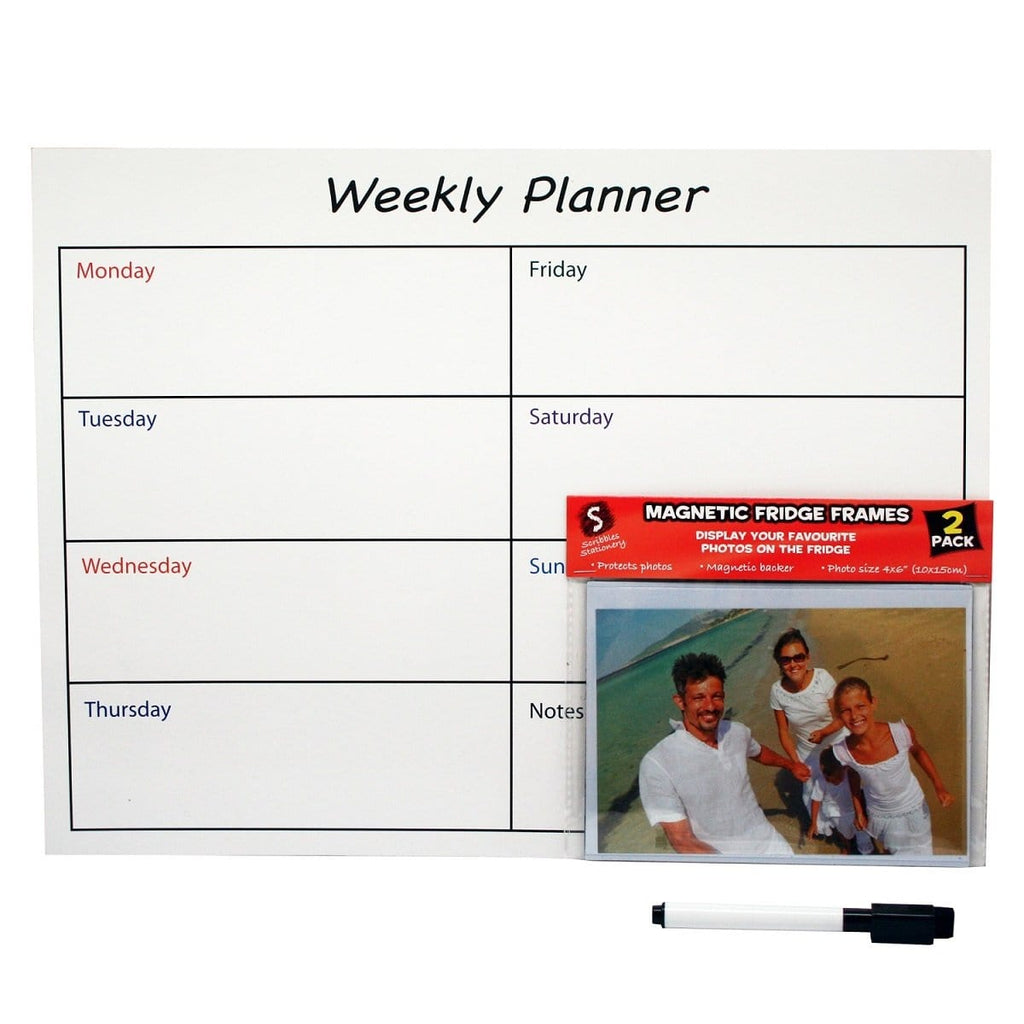 Scribbles Stationery Magnetic Weekly Planner with 2 Magnetic Photo Frames - Daves Deals