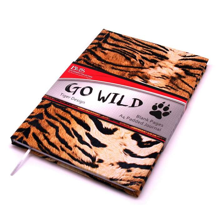 A4 Padded Blank Journal Tiger Skin Design