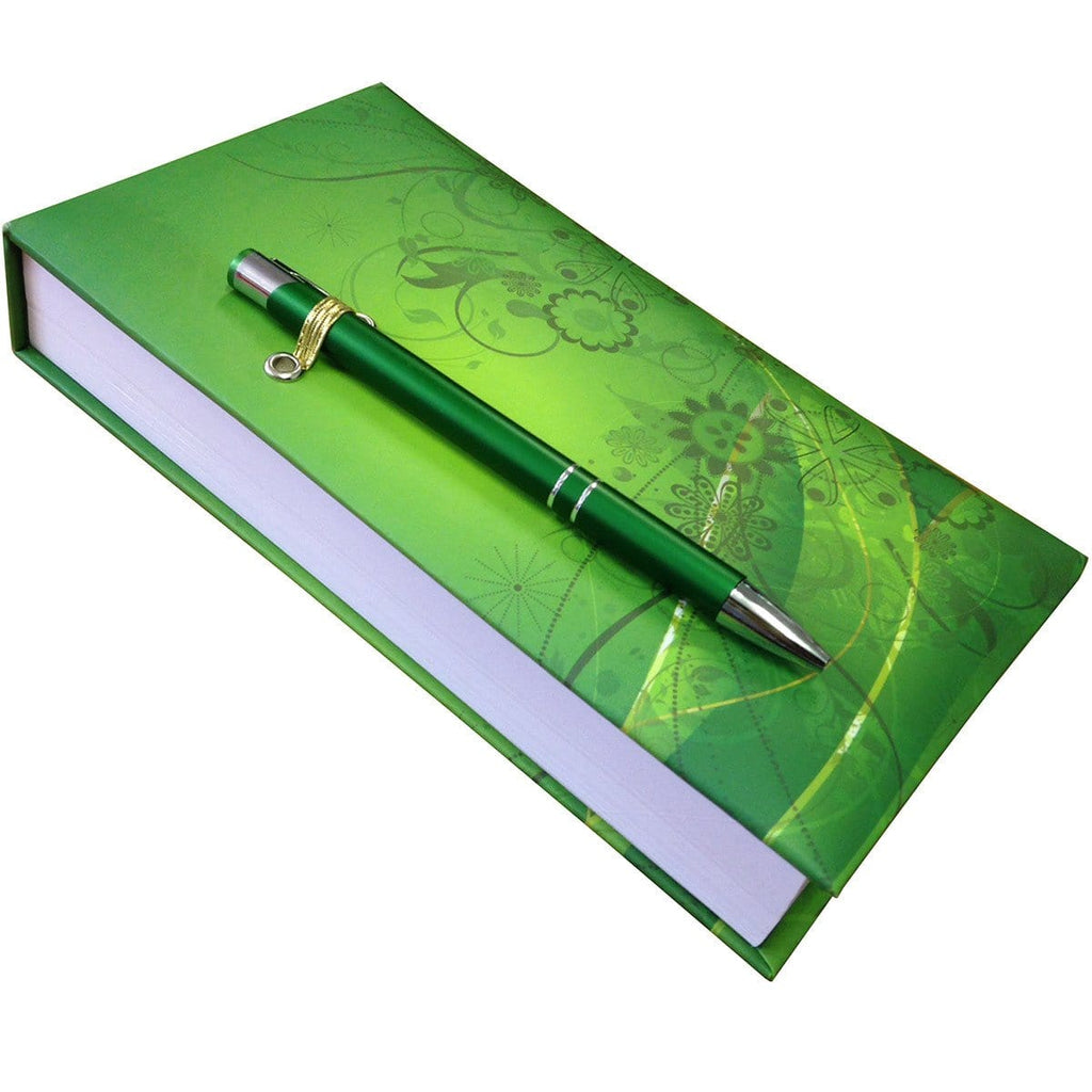 Green Pattern Notepad With Pen - Daves Deals
