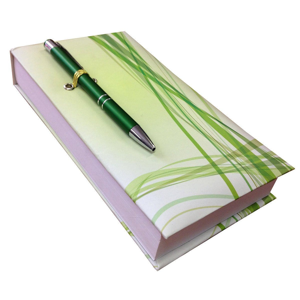 Lines In Green Notepad With Pen - Daves Deals