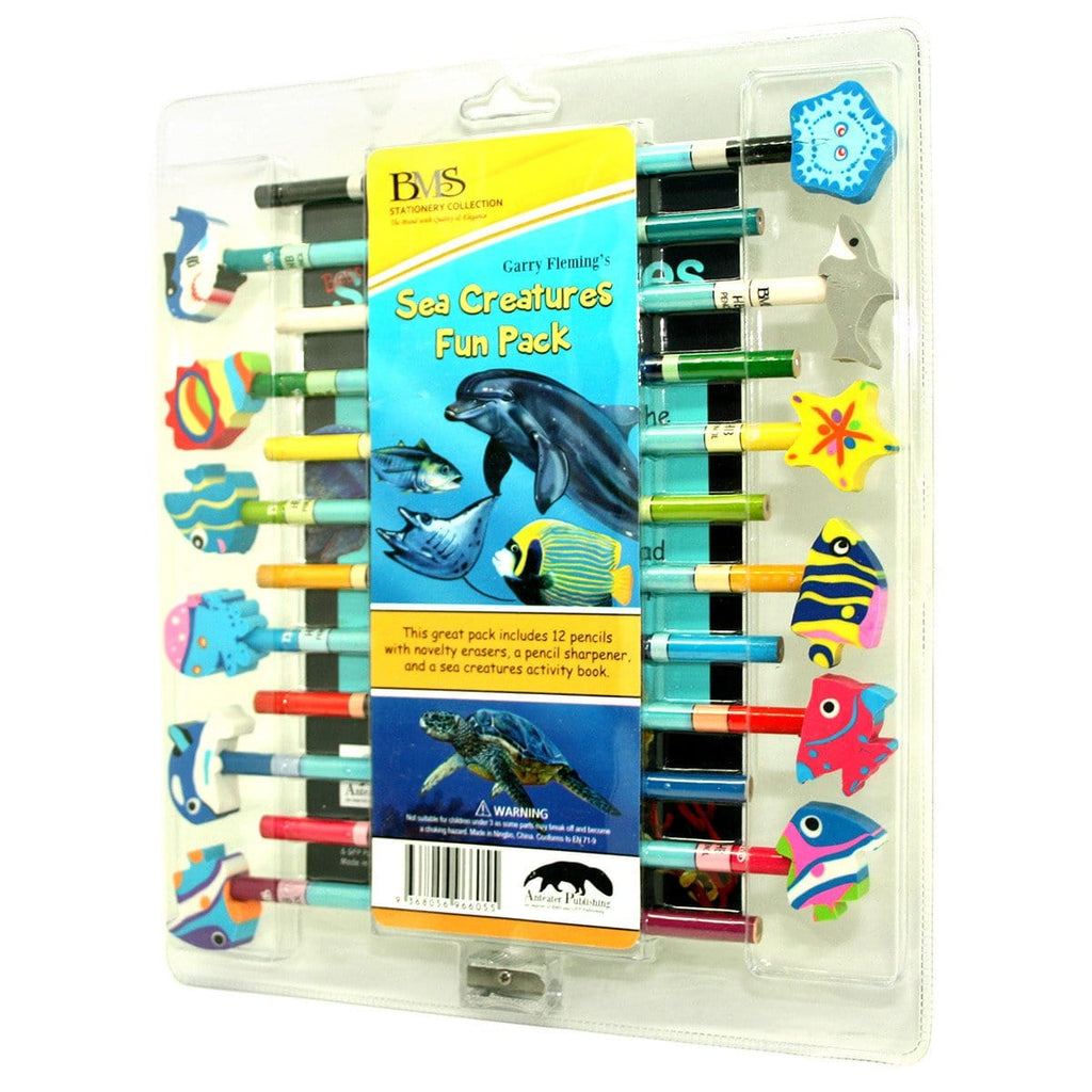 Garry Fleming - Set Of 12 Pencils With Book And Sharpener (Sea Life) - Daves Deals