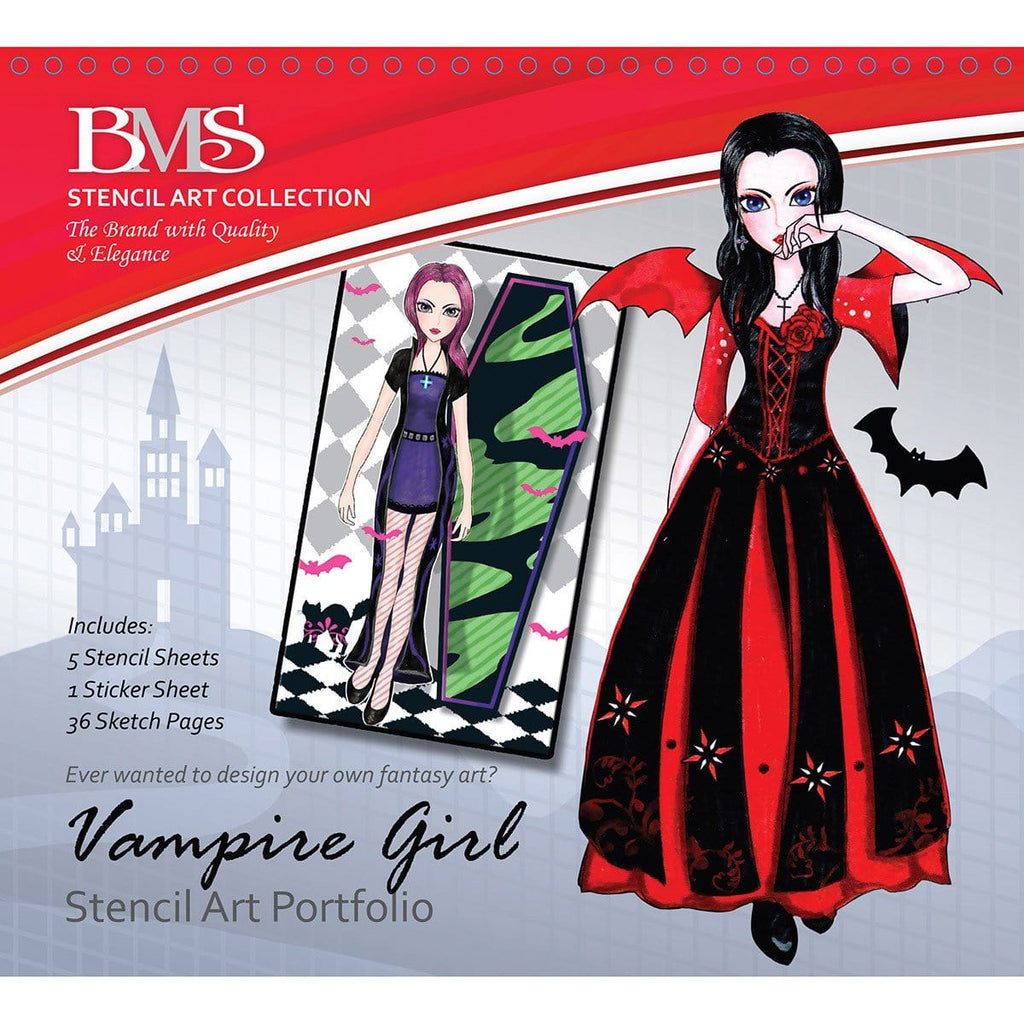 Vampire Girl Stencil Art Portfolio, [Product Type] - Daves Deals