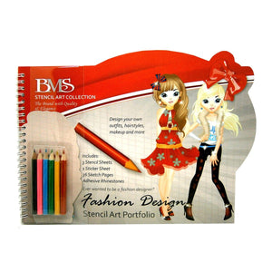 Fashion Design Stencil Art Portfolio With Pencils & Adhesive Appliques - Books - Daves Deals - 1
