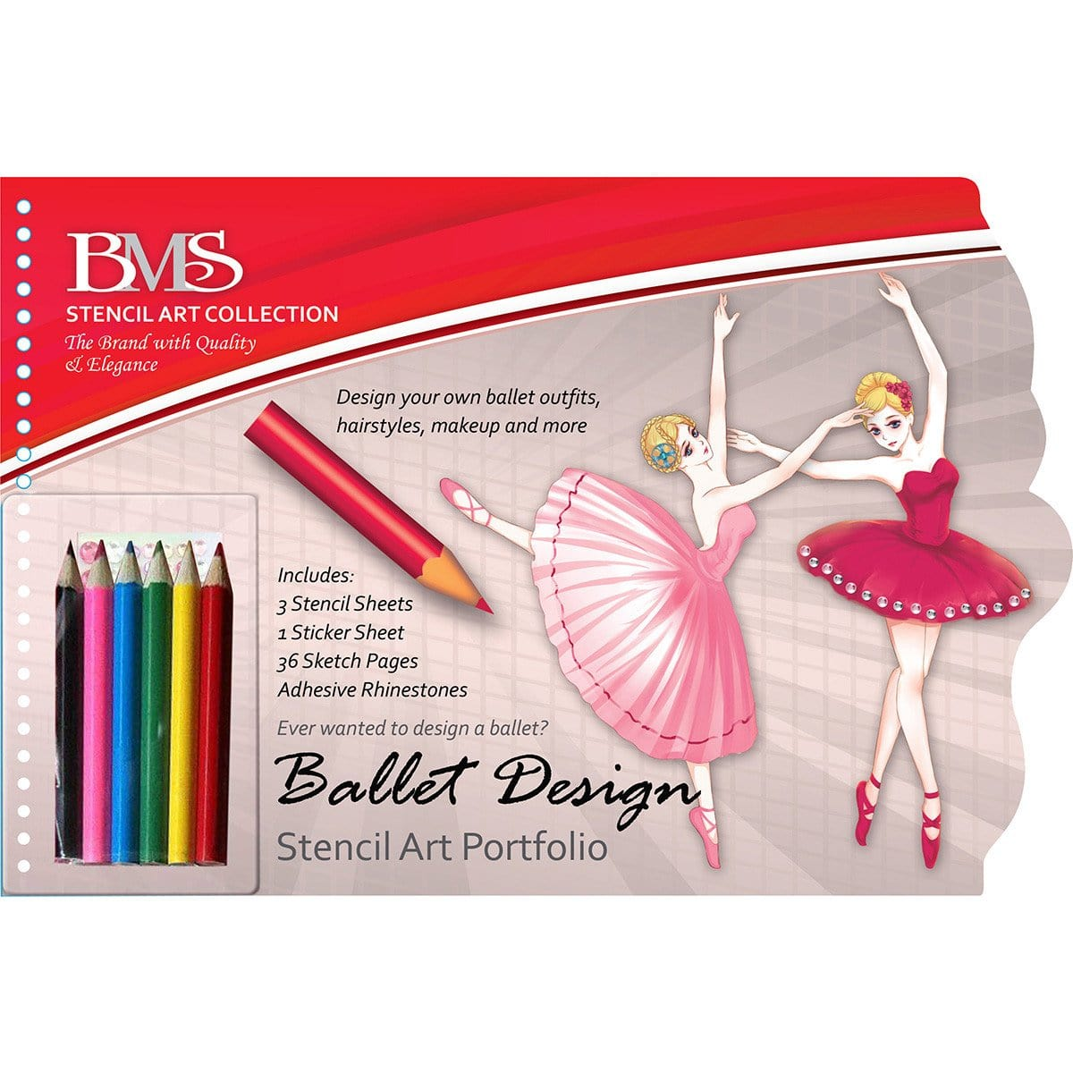 Ballet Design Stencil Art Portfolio With Pencils & Adhesive Appliques