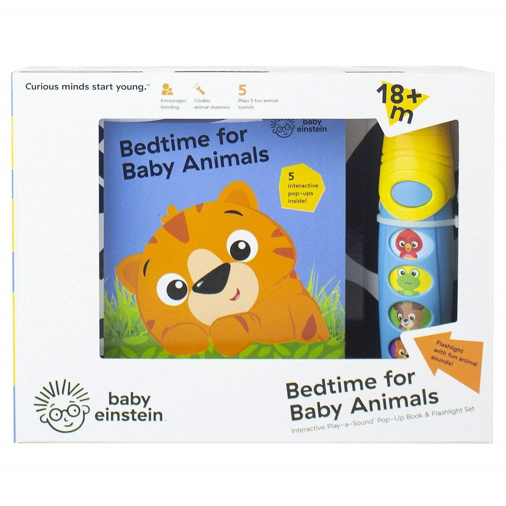 Baby Einstein - Pop Up Play-a-Sound Book & Flashlight Set - Bedtime for Baby Animals