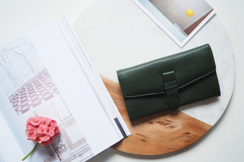 Callie Long Wallet - Dark Green