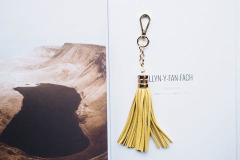 Leather Tassel Key Chain - Yellow