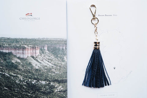 Leather Tassel Key Chain - Navy Blue