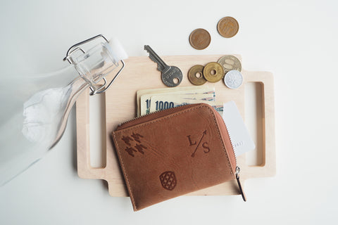 Signature Dries Zip Wallet - Brown