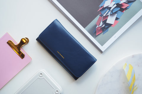 Nappa Daisy Long Wallet - Cosmo Blue